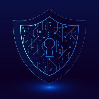 Cyber security technology concept , shield with keyhole icon , personal data illustration.