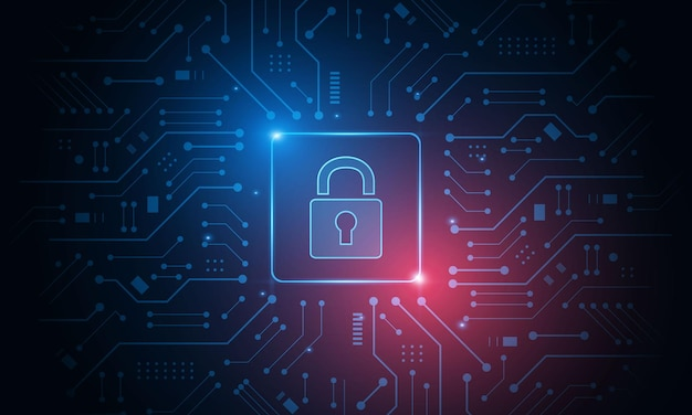 사이버 보안 기술 개념, shield with keyhole 아이콘, 개인 데이터,