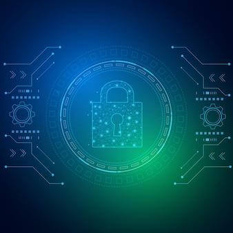 Концепция технологии кибербезопасности щит с личными данными значка замочной скважины