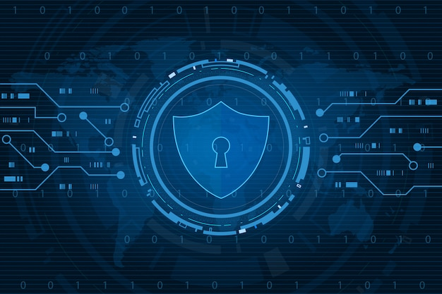 Cyber security technology concept , shield with keyhole icon on world map , personal data ,  illustration
