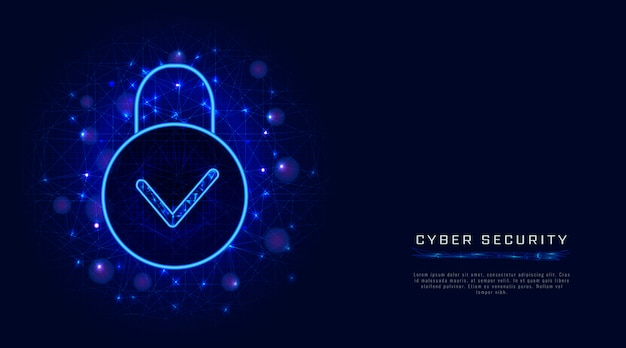 Cyber security technology and secure cloud data privacy protection, padlock icon and check mark