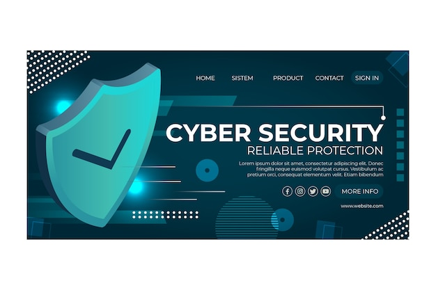 Cyber security template landing page