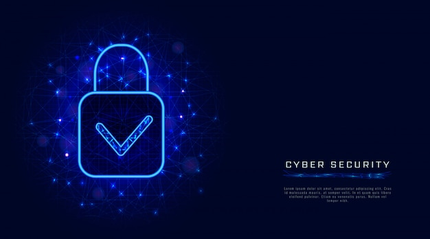 Cyber security template with padlock and check mark on abstract blue background. banner design