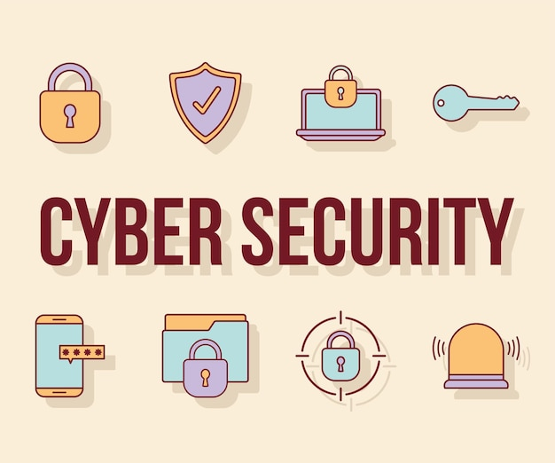 Cyber security text and and bundle of cyber security icons
