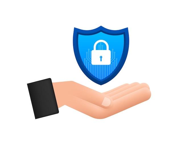 Векторный логотип кибербезопасности с щитом и галочкой руки, держащие знак кибербезопасности