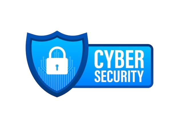 방패와 확인 표시가 있는 사이버 보안 벡터 로고. 보안 방패 개념입니다. 인터넷 보안. 벡터 일러스트 레이 션.