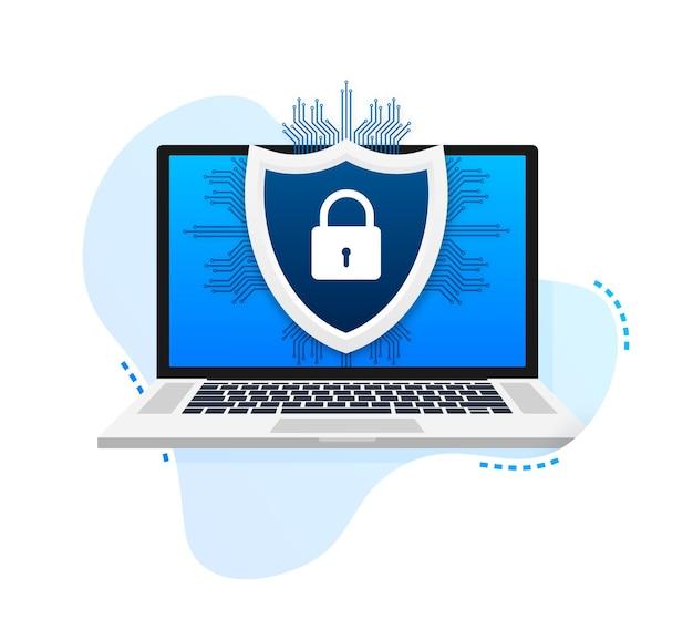 Векторный логотип кибербезопасности с щитом и галочкой концепция щита безопасности