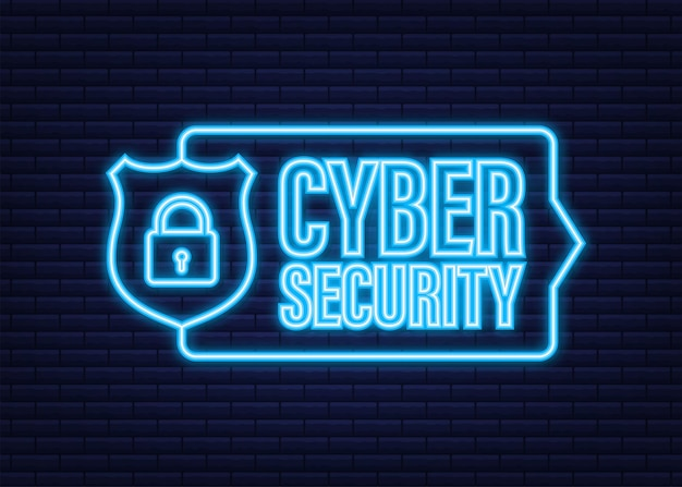 Cyber security vector logo with shield and check mark. security shield concept. internet security. neon icon. vector illustration.