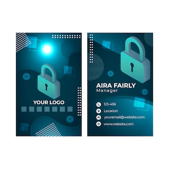 Cyber security vertical business card template