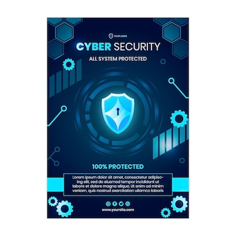 Cyber security vertical flyer template