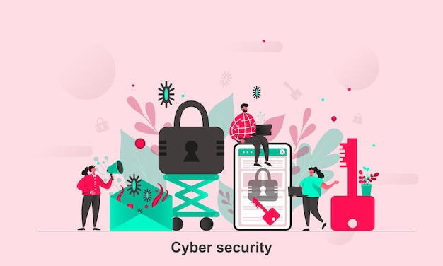 Cyber security web design in flat style with tiny people characters