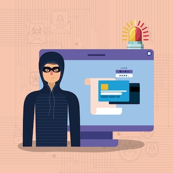 Cyber security with computer and hacker