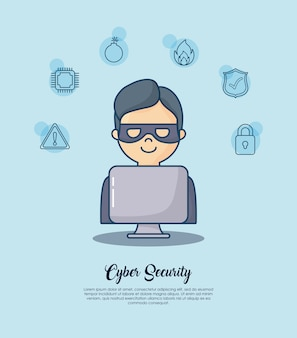 Cyber security with hacker man icon over blue background
