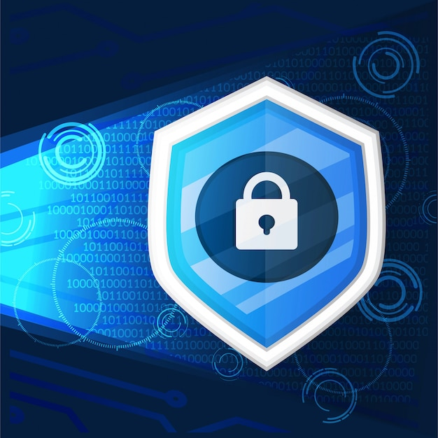 Cyber security with key icon on dark