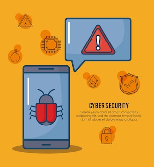 Cyber security with smartphone and virus bug icon over orange background