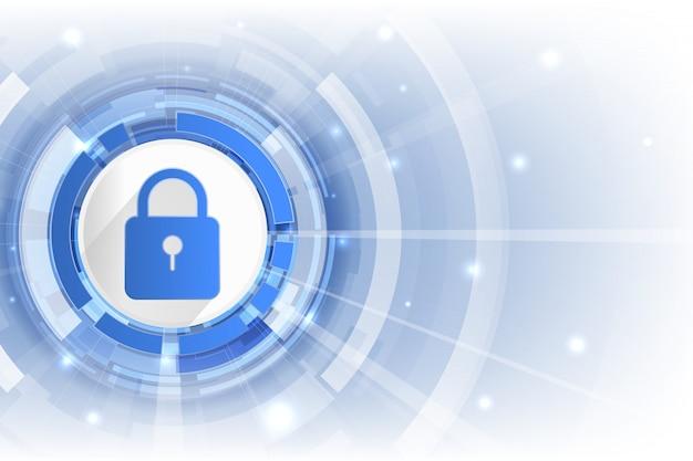 Защита фоновых данных cyber security со значком замка и открытым пространством