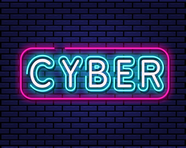 Cyber sign neon style