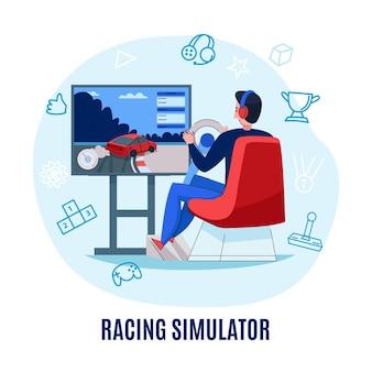 Composizione del cerchio del gioco di cyber sport con l'illustrazione della siluetta
