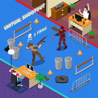 Illustrazione isometrica di cyber sport