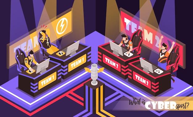 Cyber sport squadra lotta composizioni isometriche con illustrazione dei giocatori