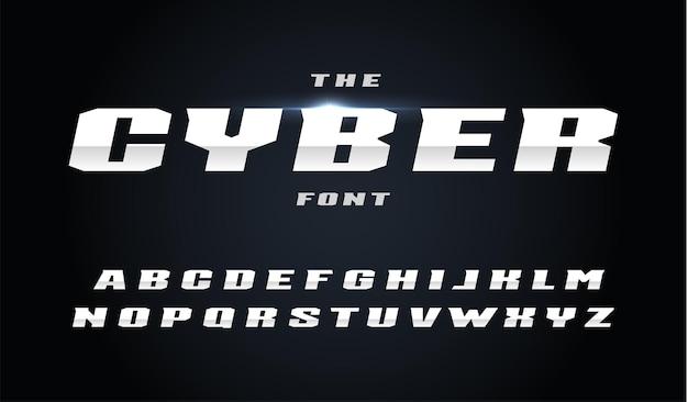 사이버 스타일 문자 집합입니다. 경사가 있는 굵은 기울임꼴 강철 알파벳입니다. 빠르고 강력한 효과, 자동 스포츠 및 새로운 기술 디자인을 위한 글꼴입니다. 검은 배경에 벡터 타이포그래피 디자인