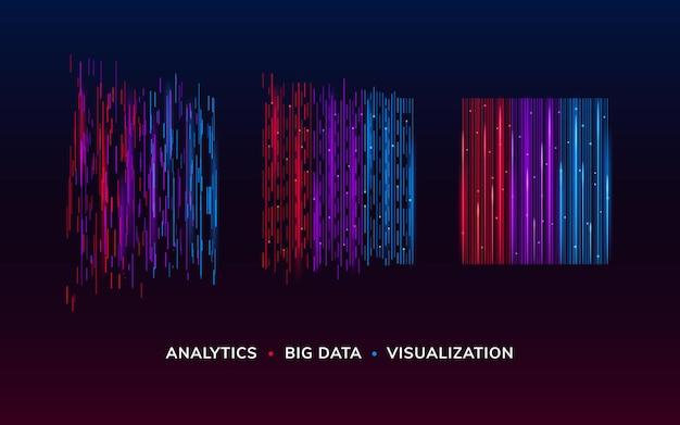 Фон кибер-технологий или фон визуализации больших данных. обои bigdata или cyber concept. цифровой инфографический элемент. визуальный фон потока данных.