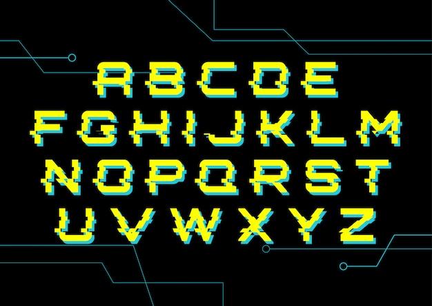 Cyber technology digital alphabet set