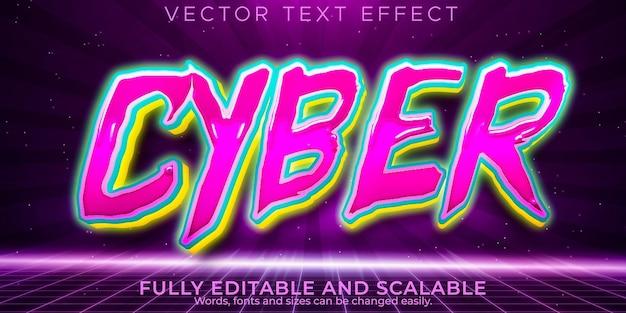 Кибер-текстовый эффект, редактируемое будущее и неоновый стиль текста