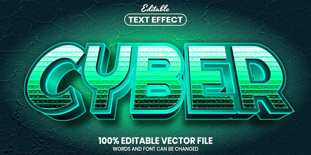 Cyber text, font style editable text effect