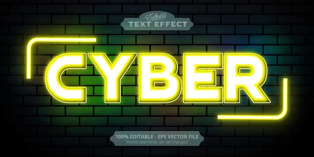 Cyber text, neon style editable text effect