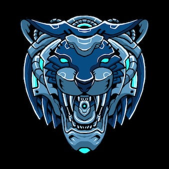 Cyber tiger head  illustration