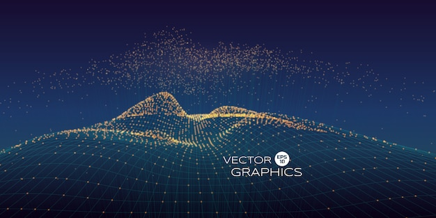 Cyber vector landscape made of wireframe and particles with rising particles above with connection line. modern design concept for technology illustration, big data.
