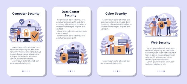 Cyber or web security mobile application banner set. idea of digital data protection and safety. modern technology and virtual crime. protection information in internet. flat vector illustration