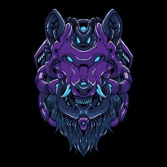 Cyber wolf head  illustration