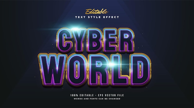 Cyber world text in colorful gradient with embossed and glossy effect