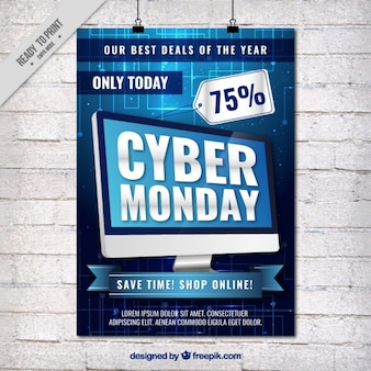 Cyber понедельник флаер с компьютером