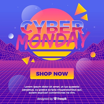 Концепция cyber понедельник с ретро футуристический фон