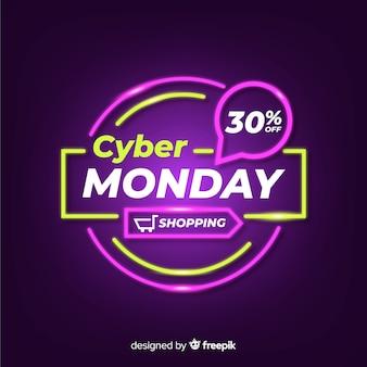 Концепция cyber понедельник с неоновым фоном