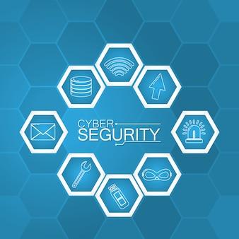 Технология cyber-безопасности с круглыми символами