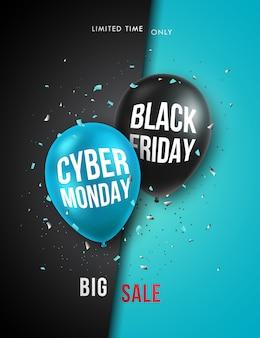Черная пятница и cyber понедельник вертикальный баннер.