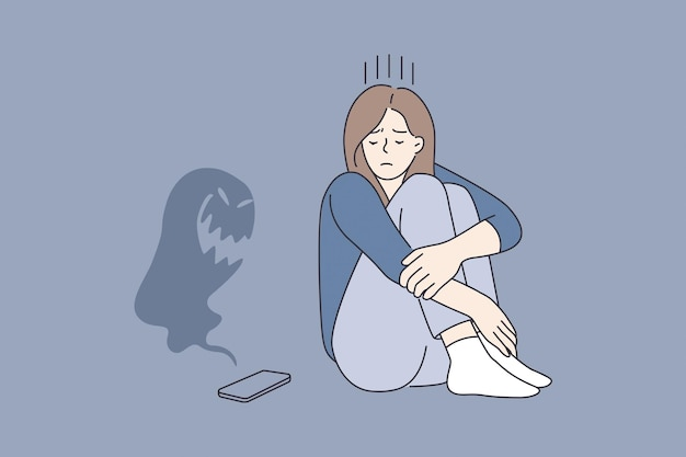 Cyberbullying and abuse in internet concept. young sad depressed girl cartoon character sitting looking on smartphone with monster flying over it vector illustration