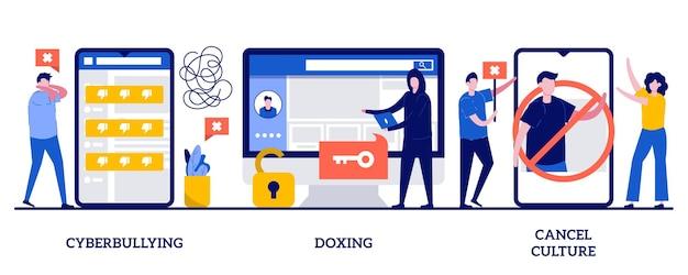 사이버 괴롭힘과 독싱, 작은 사람들과의 문화 개념 취소. 인터넷 괴롭힘을 설정합니다. 비공개 콘텐츠, 유명인 부끄러움, 해커 공격, 소셜 미디어 보이콧 은유.