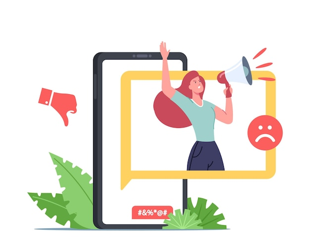 Cyberbullying attack, bully network abuse and harassment concept. cyber bullying problem. hater character on smartphone screen yell in loudspeaker over internet. cartoon people vector illustration