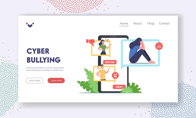 Cyberbullying attack landing page template. bully hater or troll laughing on woman in internet. teen character crying after being bullied and called nasty names. cartoon people vector illustration