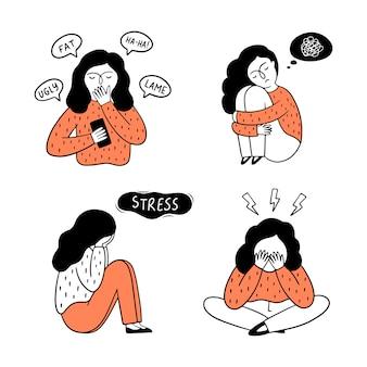 ネットいじめの概念。恐怖、悲しみ、うつ病、ストレスなどのさまざまな感情を経験している女の子のセット。手描きイラスト。