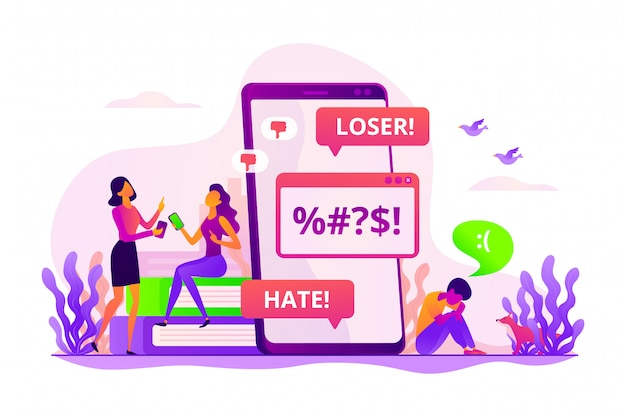 Cyberbullying concept.