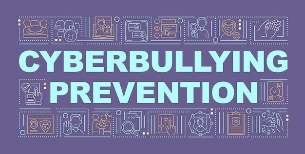 사이버 괴롭힘 예방 단어 개념 배너