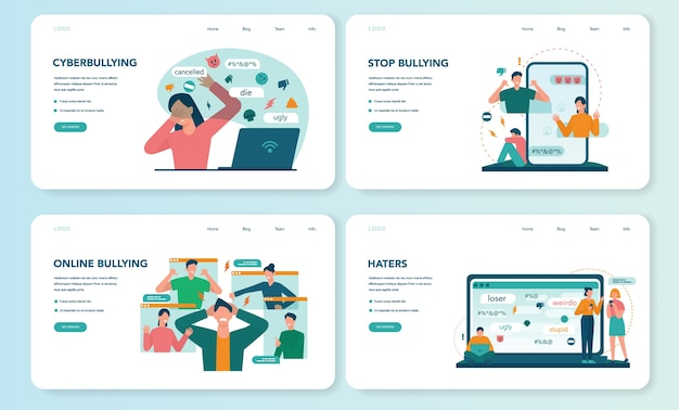 Cyberbullying web banner or landing page set