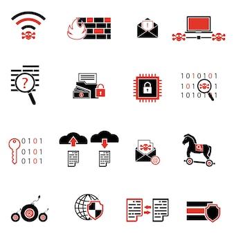 사이버 범죄 인터넷 네트워크 보안 아이콘입니다.