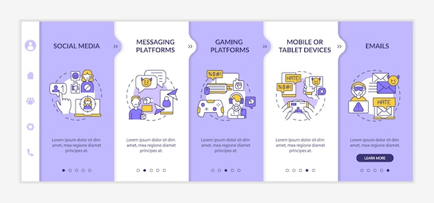 Cyberharassment channels onboarding vector template. responsive mobile website with icons. web page walkthrough 5 step screens. messaging platforms, tablets color concept with linear illustrations
